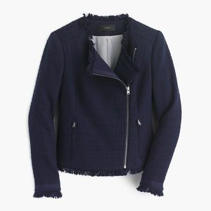 J. Crew Tweed Motorcycle Jacket With Fringe-Blue
